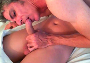 Old stud takes off his black shirt then creeps on his stepson's cock as he grabs his dick while sleeping then shoves it in his mouth on a gold and white bed. - XXXonXXX - Pic 3