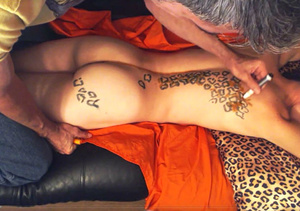 Mature guy draws some leopard skin on his naked stepson's back while sleeping on a blue couch before he takes off his yellow shirt and blue jeans then drills his dick in his butt hole in doggy position. - XXXonXXX - Pic 2