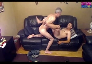 Old dude fingers his stepson's ass before he wanks it on a black couch. - XXXonXXX - Pic 4