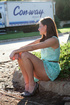 Amazing brunette teen in a light blue dress and…