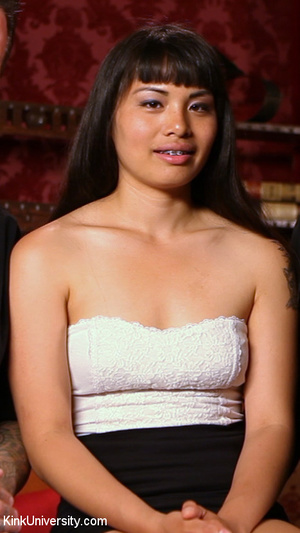 Asian in a white tube top and black skir - XXX Dessert - Picture 6