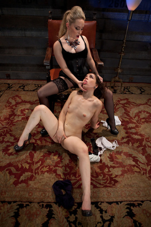 Blonde dominatrix in black stockings stu - XXX Dessert - Picture 1