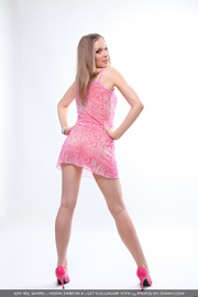 enticing lady pink dress