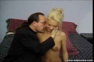 Beautiful blonde hottie opens her legs wide as she lays naked on a green bed then lets an old guy lick her pussy before she sucks his cock then lets him bang her in doggy and missionary positions. - XXXonXXX - Pic 1