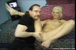 Beautiful blonde hottie opens her legs wide as she lays naked on a green bed then lets an old guy lick her pussy before she sucks his cock then lets him bang her in doggy and missionary positions. - XXXonXXX - Pic 7
