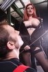 Ginger babe sucking dick and fucking the guy with…