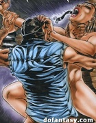 Cool comics with old fart in fishnet long socks punishing cutie in bondage.