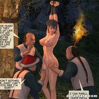 Bound and suspended cartoon brunette - BDSM Art Collection - Pic 1