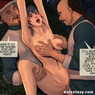Bound and suspended cartoon brunette - BDSM Art Collection - Pic 2