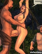 Bound and suspended cartoon brunette gets jeered and fucked painfully