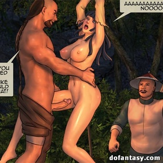 Bound and suspended cartoon brunette - BDSM Art Collection - Pic 3