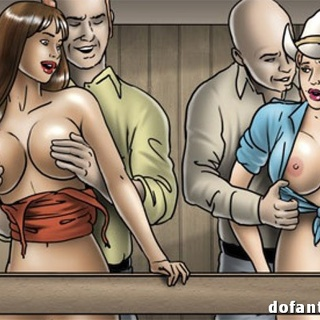 Busty cowgirl with plaits in a hat and - BDSM Art Collection - Pic 2