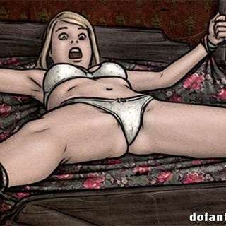 Bound and stretched blondie in white - BDSM Art Collection - Pic 2