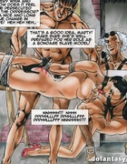 Gagged and bound toon slaves getting jeered by grey master in fishnet