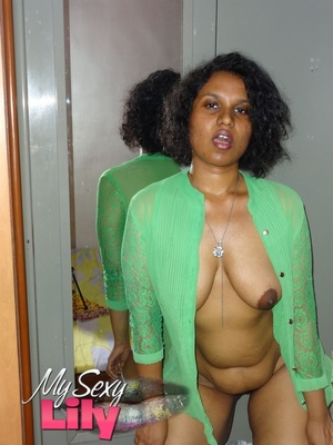 Gorgeous Indian pose seductively then reveals her sweet boobs with big nipples wearing her blue thong as she opens her green blouse. - XXXonXXX - Pic 12