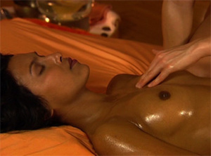 Swarthy Indian babe with natural tits gets high from oil massage performed by a brunette - XXXonXXX - Pic 3