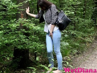 Brunette chick stops in the local forest to pee - XXXonXXX - Pic 2