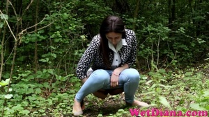 Brunette chick stops in the local forest to pee - XXXonXXX - Pic 3