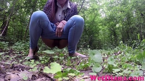 Brunette chick stops in the local forest to pee - XXXonXXX - Pic 4