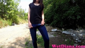 Nice girl pees in the jeans after walk in the forest - XXXonXXX - Pic 1