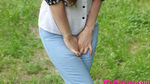 Slender raven-haired beauty can not wait to take a leak - XXXonXXX - Pic 1