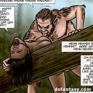 Ebony slave drilled by hairy creature - BDSM Art Collection - Pic 1