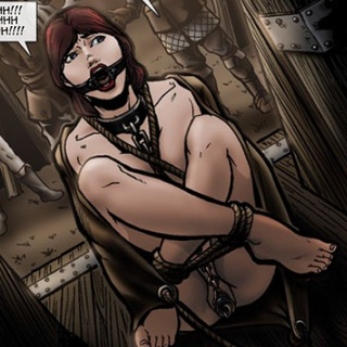 Red slave girl with a gag and pussy - BDSM Art Collection - Pic 3