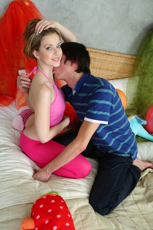 Luscious teen lets her handsome boyfriend kiss her while she take off her pink blouse then lets him suck her petite tits wearing her pink leggings on a white bed. - XXXonXXX - Pic 4