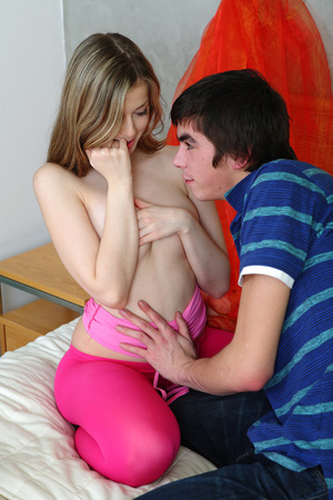 Luscious teen lets her handsome boyfriend kiss her while she take off her pink blouse then lets him suck her petite tits wearing her pink leggings on a white bed. - XXXonXXX - Pic 6