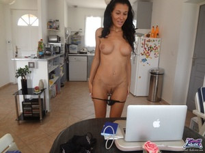 Scrumptious dish drops her black lingerie and does a brown dildo on the kitchen counter. - XXXonXXX - Pic 4