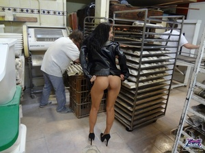 Cute bitch in a black dress and coat bares all at a bakery. - XXXonXXX - Pic 5