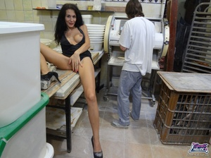 Cute bitch in a black dress and coat bares all at a bakery. - XXXonXXX - Pic 11