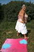 Lusty granny wearing her pink and white tube top…
