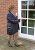 Curly cougar strips off her blue coat, skirt and…