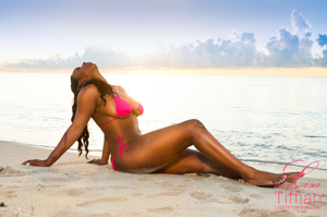 Stunning ebony posing her erotic body naked or in pink bikini and getting fucked in different positions. - XXXonXXX - Pic 1