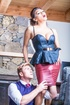 Luscious man babe displays her alluring body in hot blue blouse while
