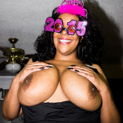 Busty ebony pops her monster boobs out of her black - Picture 4