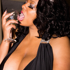 Busty ebony pops her monster boobs out of her black - Picture 9
