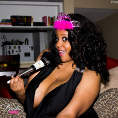 Busty ebony pops her monster boobs out of her black - Picture 10