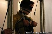 blindfolded amateur girl bounded