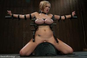 Curvy blonde slave gets her tits squeeze - XXX Dessert - Picture 1