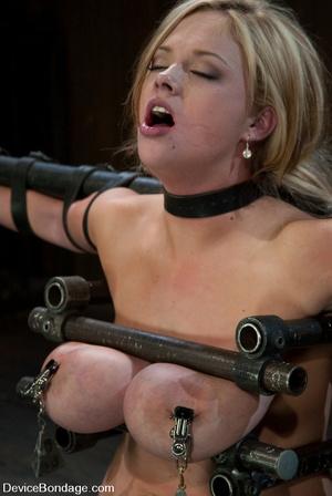 Curvy blonde slave gets her tits squeeze - XXX Dessert - Picture 10