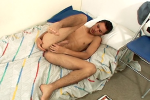 Awesome twink takes off his black sweater and jeans to jack off in bed. - XXXonXXX - Pic 13