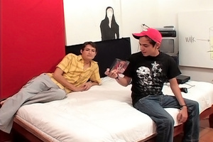 Attractive gay dude in a red cap takes a dick up his ass in the bedroom. - XXXonXXX - Pic 1