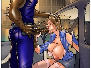 Black cop feeding white busty breaker with his huge - Picture 2