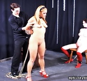 Bondaged blonde and chubby girl get torutred by…