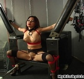 Tied sexy Asian chick got screwed by a sex machine