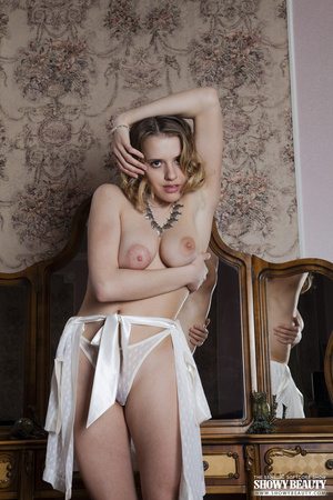 Gorgeous hottie in white lingerie peels off her nighty and bares her indulging boobs before she takes off her panty and allures with her erotic pussy as she spreads her legs wide on a gold and brown dresser. - XXXonXXX - Pic 6
