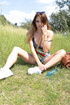 Slender young models showing off outdoors with…