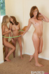 three teens play with
